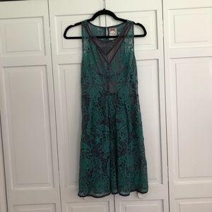 Anthropologie yoana baraschi green lace dress